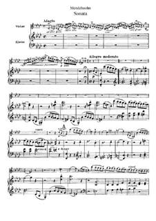 Sonate für Violine und Klavier in f-Moll, Op.4: Partitur by Felix Mendelssohn-Bartholdy