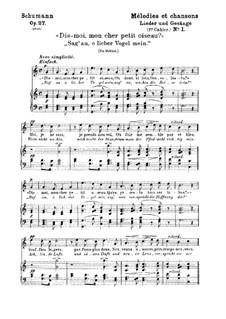 Lieder und Gesänge, Op.27: Nr.1 Sag' an, о lieber Vogel mein by Robert Schumann