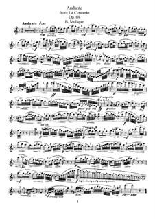 Konzert für Flöte und Orchester Nr.1, Op.69: Andante. Bearbeitung für Flöte und Klavier – Solo Stimme by Bernhard Molique