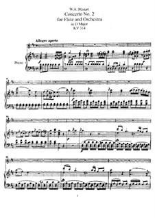 Konzert für Flöte und Orchester Nr.2 in D-Dur, K.314: Version für Flöte und Klavier by Wolfgang Amadeus Mozart