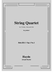 Streichquartett Nr.1 in B-Dur, Hob.III/1 Op.1 No.1: Vollpartitur, Stimmen by Joseph Haydn