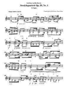 Streichquartett Nr.7 in F-Dur, Op.59 No.1: Teil 3, für Gitarre by Ludwig van Beethoven