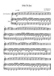 10 Easy Classical Pieces for Alto Saxophone and Piano Vol. 2: Ode To Joy by Johann Sebastian Bach, Henry Purcell, Georges Bizet, Ludwig van Beethoven, Edvard Grieg, Alexander Porfiryevich Borodin, Pjotr Tschaikowski, Franz Xaver Gruber