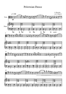 10 Easy Classical Pieces for Viola and Piano Vol. 2: Polovtsian Dance by Johann Sebastian Bach, Henry Purcell, Georges Bizet, Ludwig van Beethoven, Edvard Grieg, Alexander Porfiryevich Borodin, Pjotr Tschaikowski, Franz Xaver Gruber