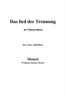 Trennungslied, K.519: F sharp minor by Wolfgang Amadeus Mozart