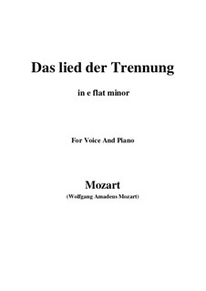 Trennungslied, K.519: E flat minor by Wolfgang Amadeus Mozart