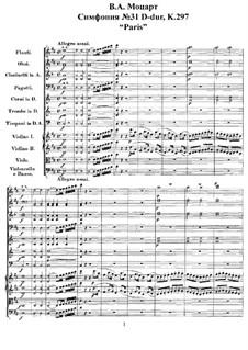 Sinfonie Nr.31 in D-Dur 'Pariser', K.297: Vollpartitur by Wolfgang Amadeus Mozart
