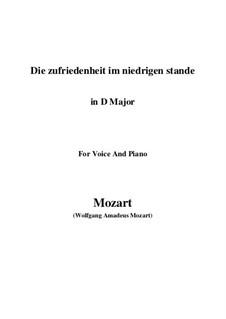 Die Zufriedenheit im niedrigen Stande, K.151: D Major by Wolfgang Amadeus Mozart