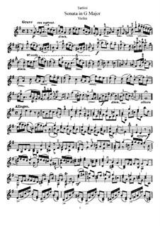 Sonate für Violine und Klavier in G-Dur: Solostimme by Giuseppe Tartini