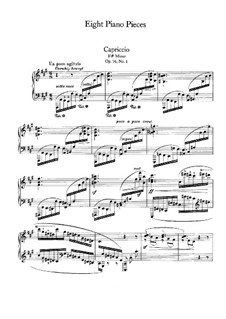 Acht Stücke, Op.76: No.1 Cappriccio in F Sharp Minor by Johannes Brahms