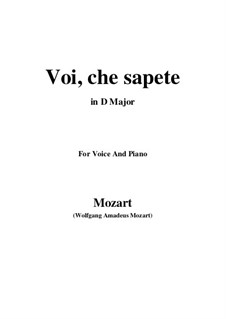 Voi, che sapete: D Major by Wolfgang Amadeus Mozart