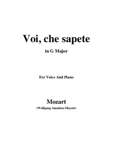 Voi, che sapete: G Major by Wolfgang Amadeus Mozart