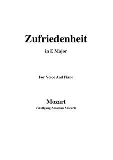 Die Zufriedenheit, K.349: E Major by Wolfgang Amadeus Mozart