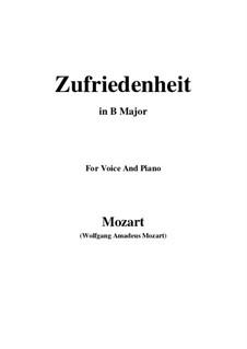 Die Zufriedenheit, K.349: B Major by Wolfgang Amadeus Mozart