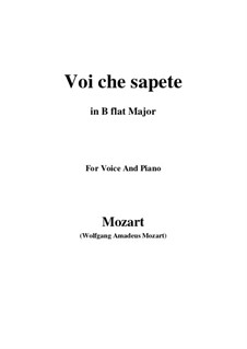 Voi, che sapete: B flat Major by Wolfgang Amadeus Mozart