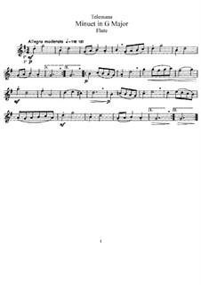 Menuett in G-dur für Flöte und Klavier: Solostimme by Georg Philipp Telemann