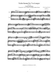 Sonate für Violine (oder Flöte) und Klavier Nr.3 in A-Dur, K.12: Partitur, Solostimme by Wolfgang Amadeus Mozart