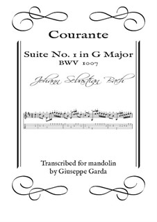Suite für Cello Nr.1 in G-Dur, BWV 1007: Courante. Arrangement for mandolin by Johann Sebastian Bach