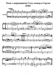 Andante und Variationen für Klavier, vierhändig in G-Dur, K.501: Stimmen by Wolfgang Amadeus Mozart