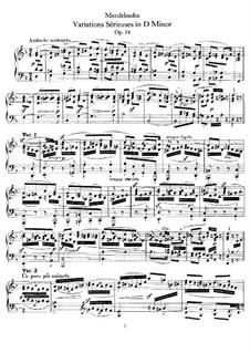 Variations Serieuses, Op.54: Für Klavier by Felix Mendelssohn-Bartholdy
