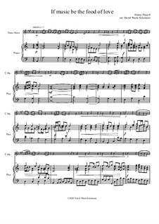 If music be the food of love: For tenor horn (horn in E flat) and piano by Henry Purcell