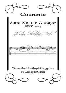 Suite für Cello Nr.1 in G-Dur, BWV 1007: Courante. Arrangement for acoustic guitar (flatpicking) by Johann Sebastian Bach