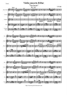 Violinkonzert Nr.10 in B-Dur 'La caccia', RV 362 : Score, parts by Antonio Vivaldi