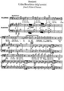 Der Liebestrank: Udite, udite, o rustici, für Stimme und Klavier by Gaetano Donizetti