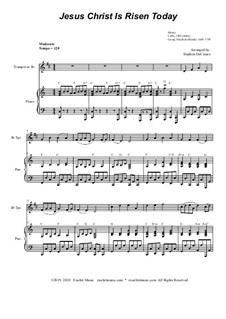 Jesus Christ Is Risen Today: For Bb-trumpet solo and piano by Georg Friedrich Händel, folklore