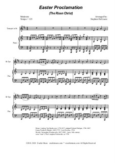 Easter Proclamation (The Risen Christ): For Bb-trumpet and piano by Georg Friedrich Händel, Ludwig van Beethoven, folklore