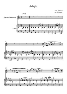 10 Easy Classical Pieces For Soprano Saxophone & Piano Vol.4: Adagio (In G Minor) by Johann Sebastian Bach, Tomaso Albinoni, Joseph Haydn, Wolfgang Amadeus Mozart, Franz Schubert, Jacques Offenbach, Richard Wagner, Giacomo Puccini, folklore