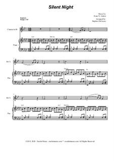 Stille Nacht, heilige Nacht, für Zwei Instrumente: For Bb-clarinet solo and piano by Franz Xaver Gruber