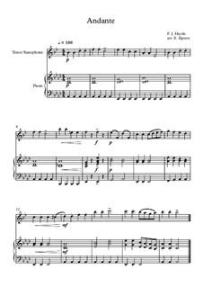 10 Easy Classical Pieces For Tenor Saxophone & Piano Vol.4: Andante (Surprise Symphony) by Johann Sebastian Bach, Tomaso Albinoni, Joseph Haydn, Wolfgang Amadeus Mozart, Franz Schubert, Jacques Offenbach, Richard Wagner, Giacomo Puccini, folklore
