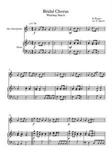 10 Easy Classical Pieces For Alto Saxophone & Piano Vol.4: Bridal Chorus (Wedding March) by Johann Sebastian Bach, Tomaso Albinoni, Joseph Haydn, Wolfgang Amadeus Mozart, Franz Schubert, Jacques Offenbach, Richard Wagner, Giacomo Puccini, folklore