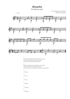 Alouette: For guitar solo (G Major) by folklore