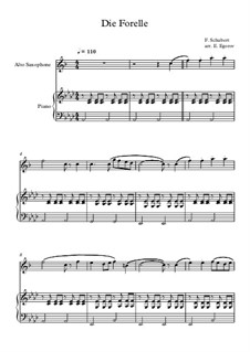 10 Easy Classical Pieces For Alto Saxophone & Piano Vol.4: Die Forelle by Johann Sebastian Bach, Tomaso Albinoni, Joseph Haydn, Wolfgang Amadeus Mozart, Franz Schubert, Jacques Offenbach, Richard Wagner, Giacomo Puccini, folklore