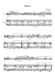 10 Easy Classical Pieces For Viola & Piano Vol.4: Minuet (In D Minor) by Johann Sebastian Bach, Tomaso Albinoni, Joseph Haydn, Wolfgang Amadeus Mozart, Franz Schubert, Jacques Offenbach, Richard Wagner, Giacomo Puccini, folklore