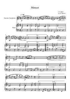 10 Easy Classical Pieces For Soprano Saxophone & Piano Vol.4: Minuet (In D Minor) by Johann Sebastian Bach, Tomaso Albinoni, Joseph Haydn, Wolfgang Amadeus Mozart, Franz Schubert, Jacques Offenbach, Richard Wagner, Giacomo Puccini, folklore