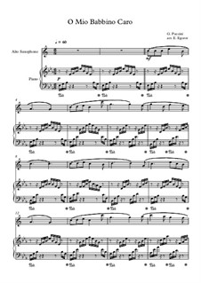 10 Easy Classical Pieces For Alto Saxophone & Piano Vol.4: O Mio Babbino Caro by Johann Sebastian Bach, Tomaso Albinoni, Joseph Haydn, Wolfgang Amadeus Mozart, Franz Schubert, Jacques Offenbach, Richard Wagner, Giacomo Puccini, folklore