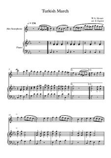 10 Easy Classical Pieces For Alto Saxophone & Piano Vol.4: Turkish March by Johann Sebastian Bach, Tomaso Albinoni, Joseph Haydn, Wolfgang Amadeus Mozart, Franz Schubert, Jacques Offenbach, Richard Wagner, Giacomo Puccini, folklore