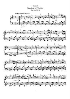 Sechs Sonatinen für Klavier, Op.20: Nr.3 in F-Dur by Jan Ladislav Dussek