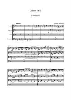 Kanon in D-Dur: For string quartet - score and parts by Johann Pachelbel