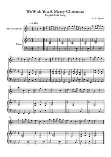 10 Easy Classical Pieces For Alto Saxophone & Piano Vol.4: We Wish You A Merry Christmas by Johann Sebastian Bach, Tomaso Albinoni, Joseph Haydn, Wolfgang Amadeus Mozart, Franz Schubert, Jacques Offenbach, Richard Wagner, Giacomo Puccini, folklore