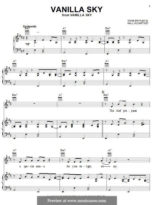 Vanilla Sky: Für Stimme und Klavier (oder Gitarre) by Paul McCartney