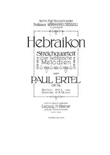 Streichquartett 'Hebraikon', Op.14: Violinstimme I by Jean Paul Ertel