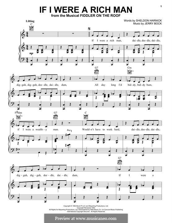 If I Were a Rich Man (from The Fiddler on the Roof): Für Stimme und Klavier (oder Gitarre) by Jerry Bock