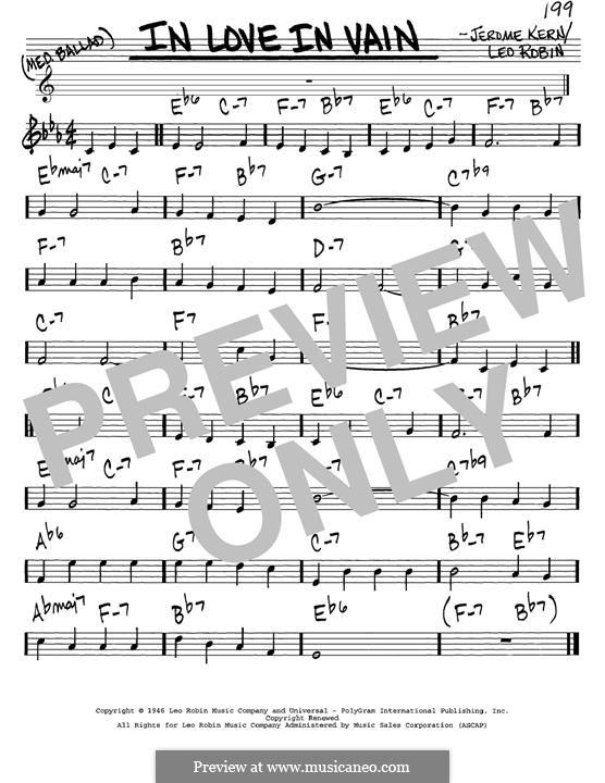 In Love in Vain: Melodische Linie by Jerome Kern
