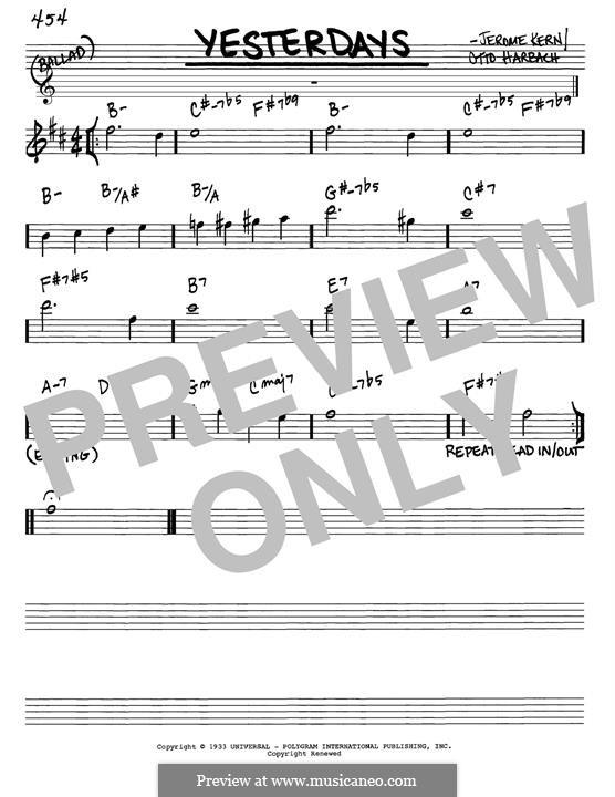 Yesterdays: Melodische Linie by Jerome Kern