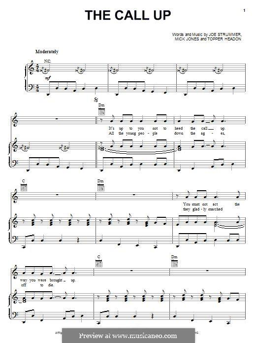 The Call Up (The Clash): Für Stimme und Klavier (oder Gitarre) by Joe Strummer, Mick Jones, Topper Headon