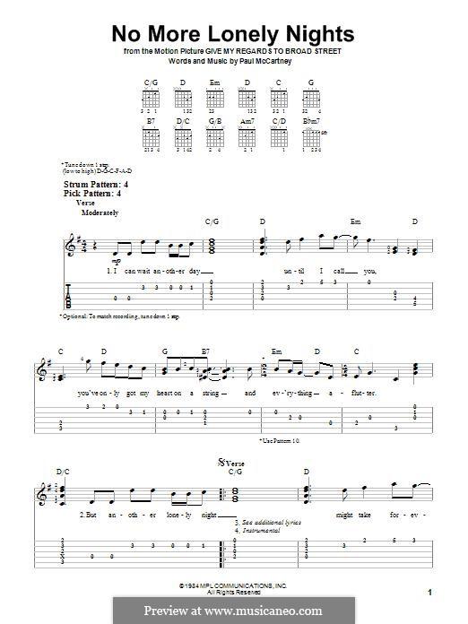 No More Lonely Nights: Für Gitarre mit Tabulatur by Paul McCartney
